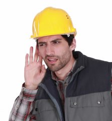 Worker_cant_hear_cropped_Fotosearch_k10452212